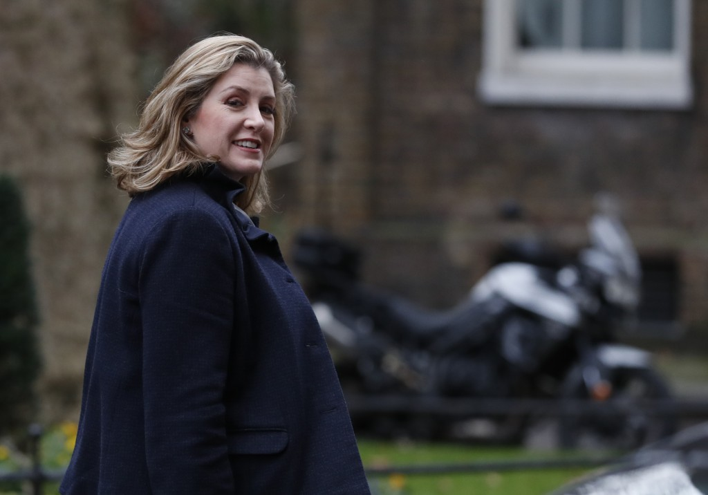 Penny Mordaunt Secretary of State for International Development looks back towards the media after attending a cabinet meeting at 10 Downing Street, i
