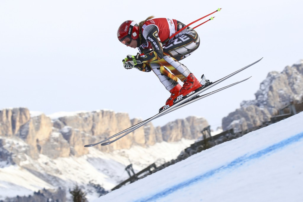 Czech Republic's Ester Ledecka speeds down the course during the training of a women's World Cup Downhill, in Val Gardena, Italy, Monday, Dec. 17, 201