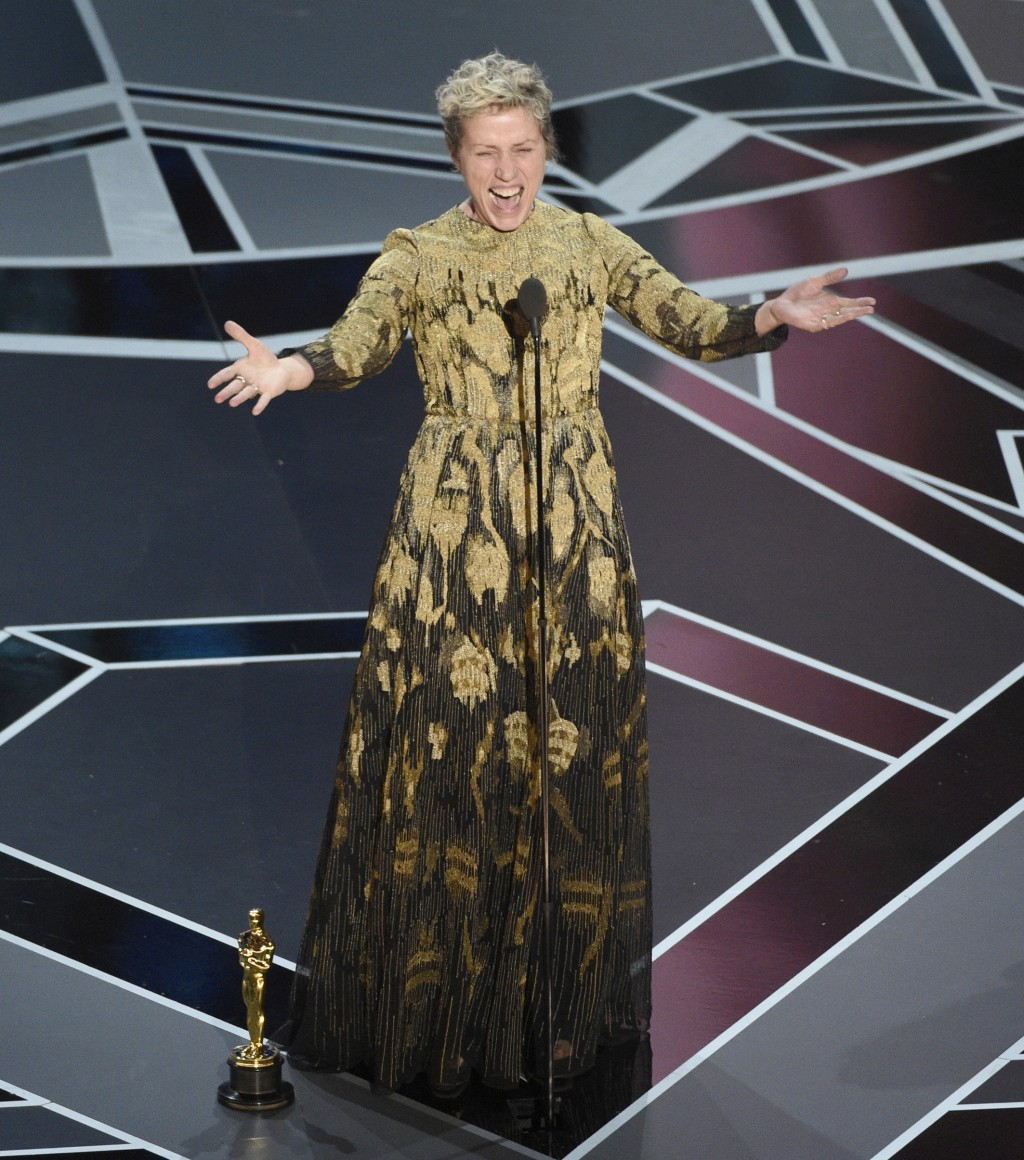 """FILE - In this March 4, 2018 file photo, Frances McDormand accepts the award for best performance by an actress in a leading role for """"Three Billboard..."""