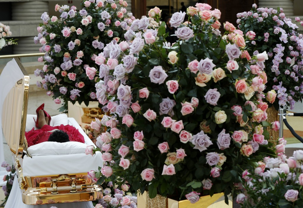 FILE - In this Aug. 28, 2018 file photo, Aretha Franklin lies in her casket at Charles H. Wright Museum of African American History during a public vi...