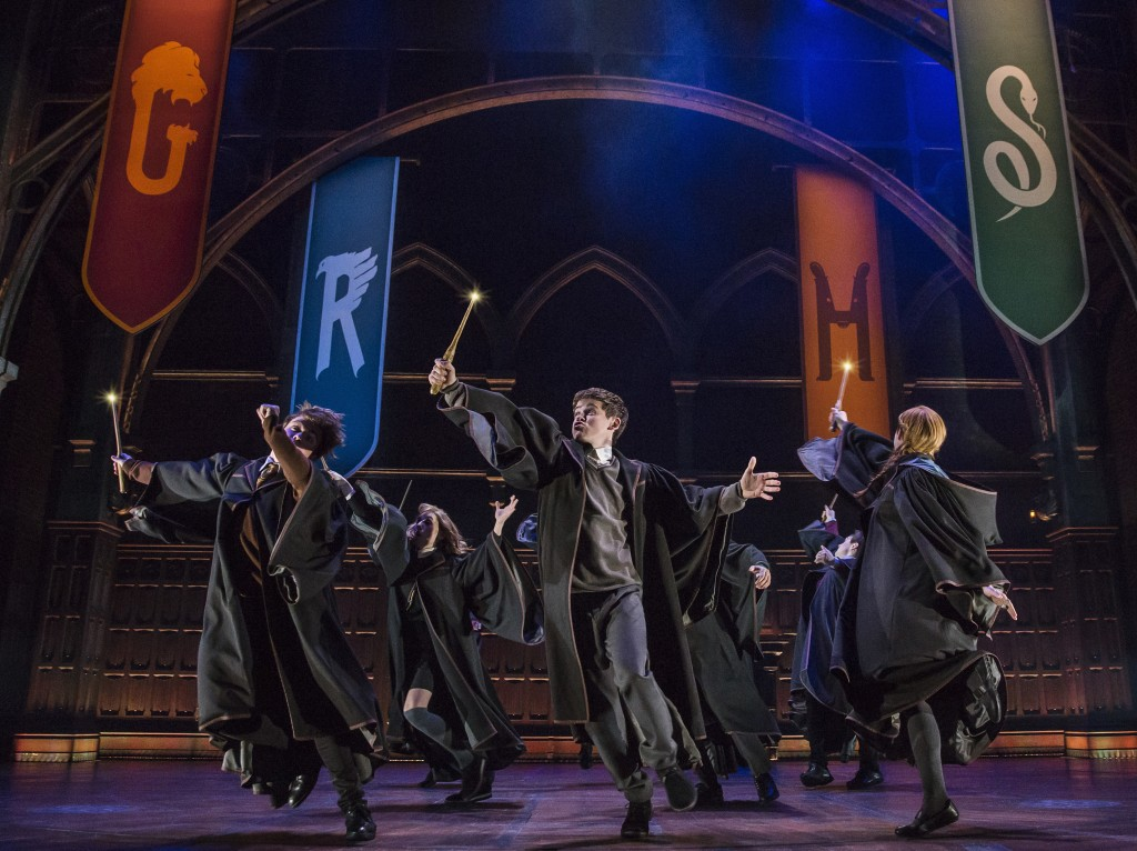 """This image released by Boneau/Bryan-Brown shows a scene from the production of""""Harry Potter and the Cursed Child,"""" in New York. The two parts of the p..."""