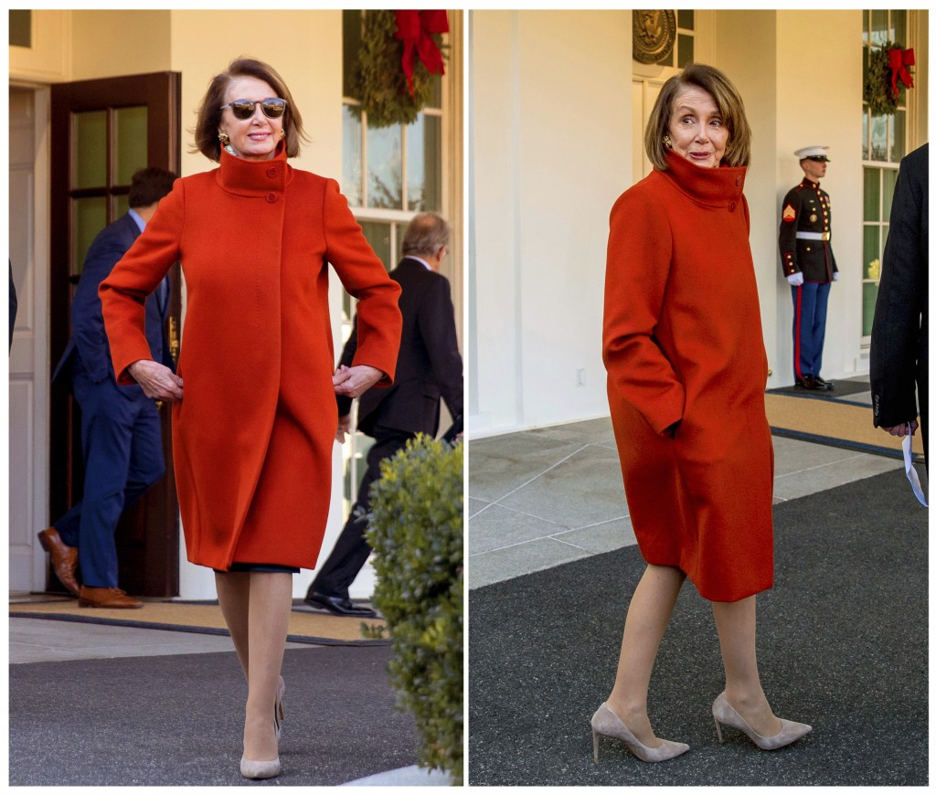 This combination photo shows House Minority Leader Nancy Pelosi wearing a red Max Mara coat outside of the West Wing at the White House in Washington