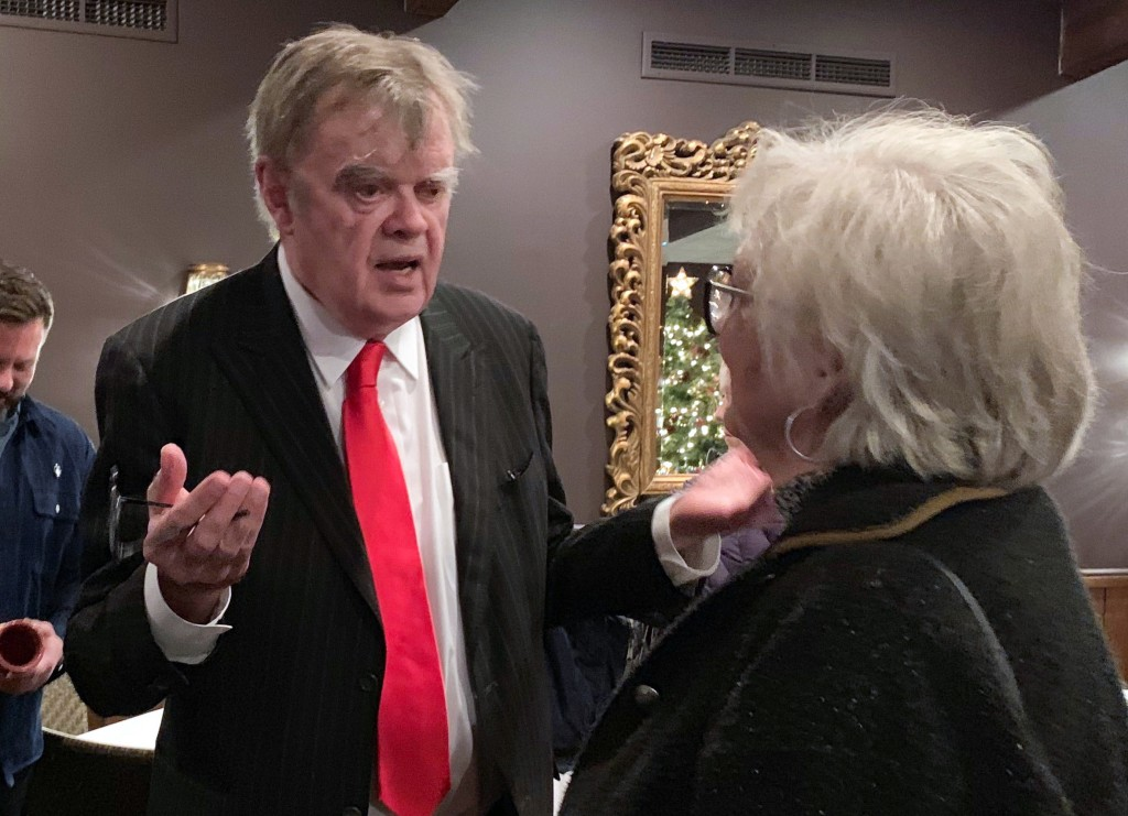"""In this Sunday, Dec. 16, 2018, former """"A Prairie Home Companion"""" host Garrison Keillor talks to fans after his performances at Crooners lounge in Frid..."""