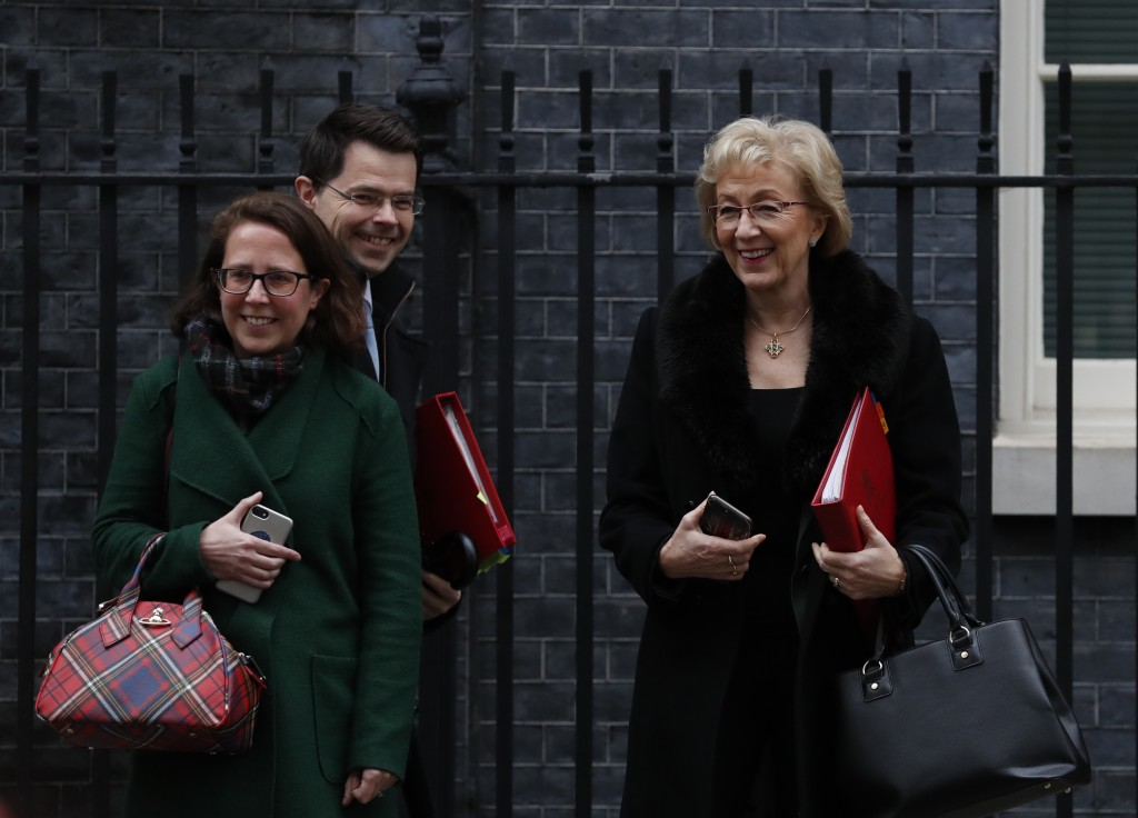 Baroness Evans, left, Leader of the House of Lords with James Brokenshire the Secretary of State for Housing and Andrea Leadsom, Leader of the House o