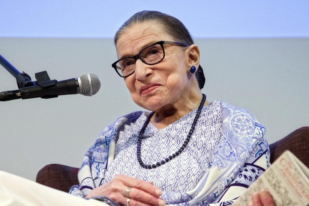 "FILE - In this July 5, 2018 file photo, US Supreme Court Justice Ruth Bader Ginsburg speaks after the screening of ""RBG,"" the documentary about her, i"