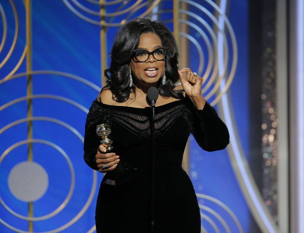 This Jan. 7, 2018 image released by NBC shows Oprah Winfrey accepting the Cecil B. DeMille Award at the 75th Annual Golden Globe Awards in Beverly Hil...