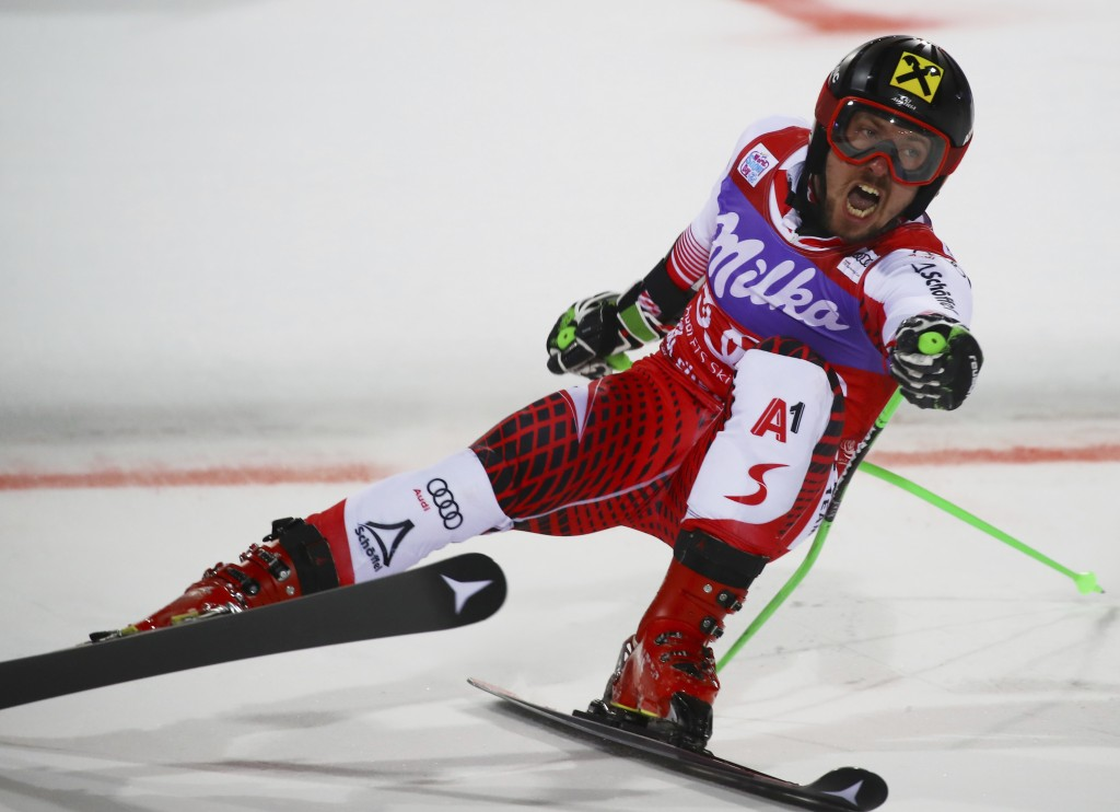 Austria's Marcel Hirscher crosses the finish line to win a ski World Cup men's Parallel Giant Slalom, in Alta Badia, Italy, Monday, Dec. 17, 2018. (AP...