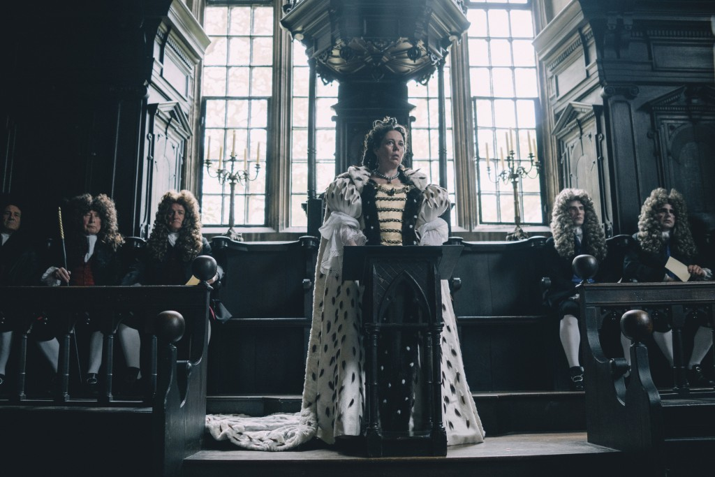 """This image released by Fox Searchlight Films shows Olivia Colman in a scene from the film """"The Favourite."""" (Atsushi Nishijima/Fox Searchlight Films vi..."""