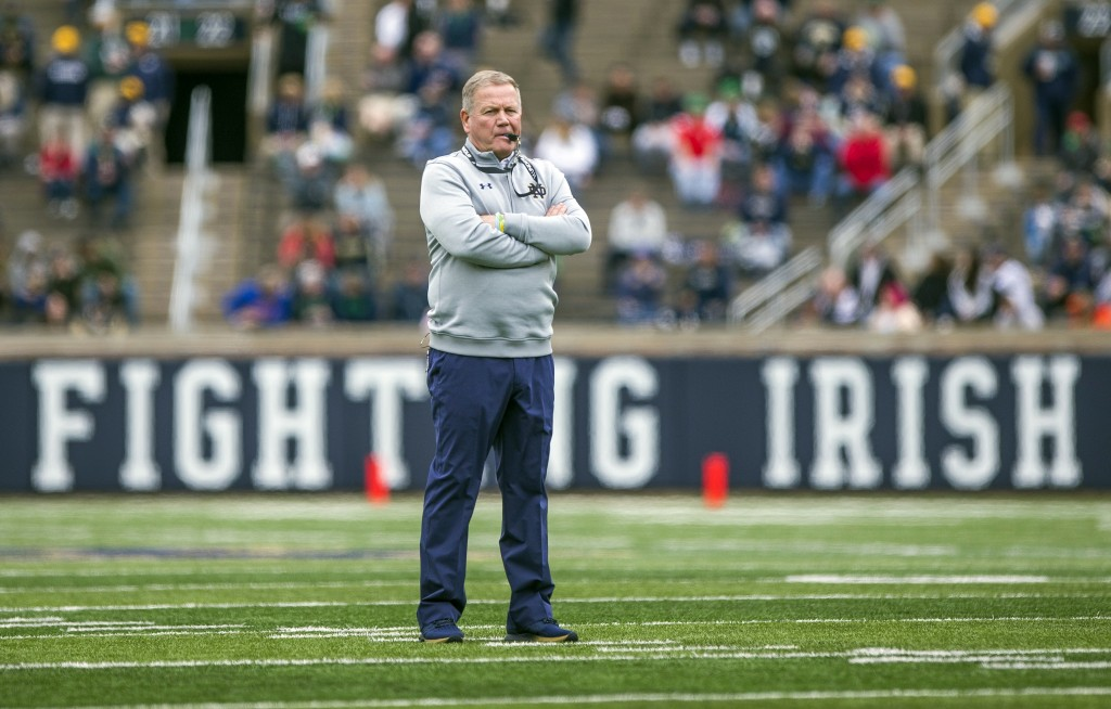 FILE - In this April 21, 2018, file photo, Notre Dame head coach Brian Kelly watches during the Notre Dame Blue-Gold Spring college football game in S...