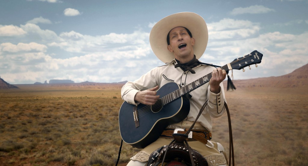 """This image released by Netflix shows Tim Blake Nelson in a scene from """"The Ballad of Buster Scruggs,"""" a film by Joel and Ethan Coen streaming on Netfl..."""