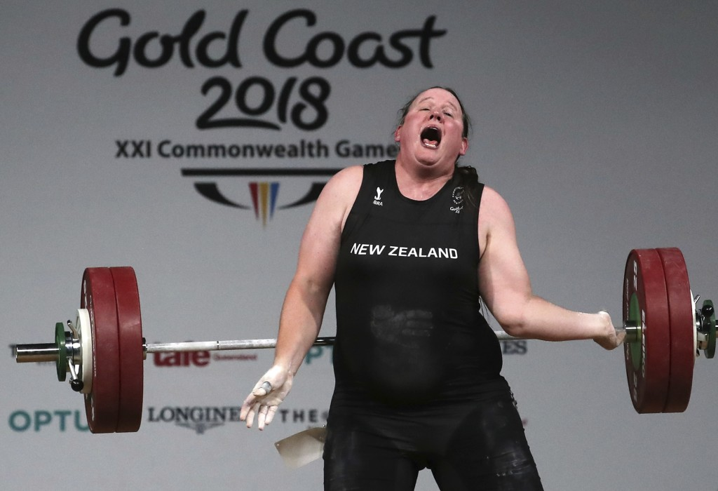 In this April 9, 2018 photo, New Zealand's Laurel Hubbard reacts after failing to make a lift in the snatch of the women's +90kg weightlifting final a...