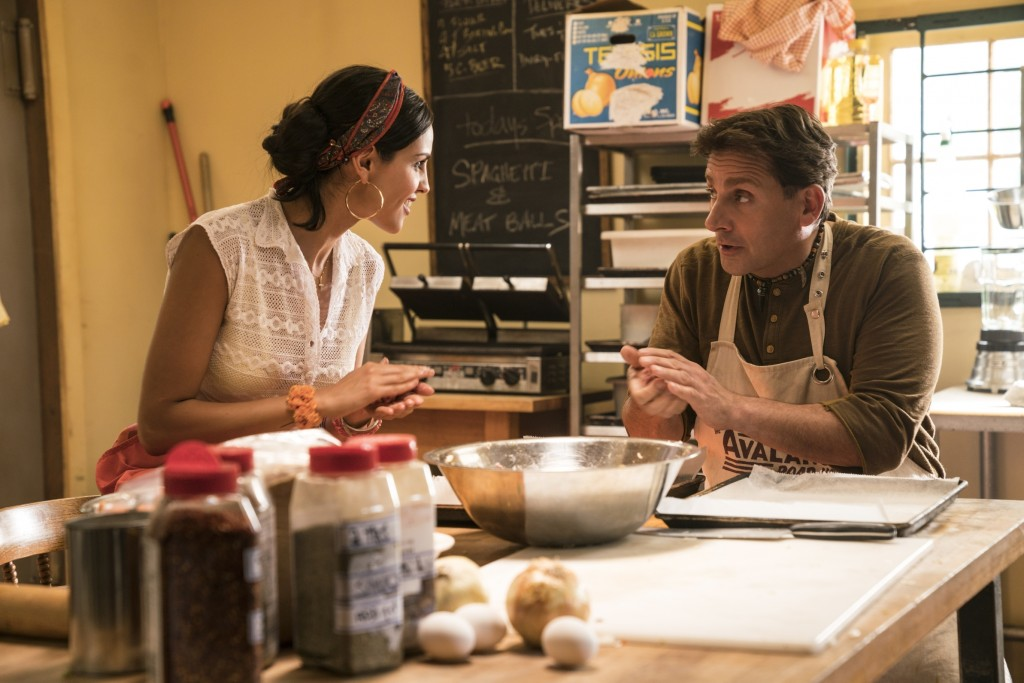 "This image released by Universal Pictures shows Eiza Gonzalez, left, and Steve Carell in ""Welcome to Marwen."" (Ed Araquel/Universal Pictures via AP)"