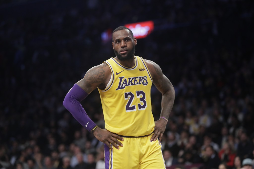Los Angeles Lakers' LeBron James (23) reacts during the second half of an NBA basketball game against the Brooklyn Nets Tuesday, Dec. 18, 2018, in New...