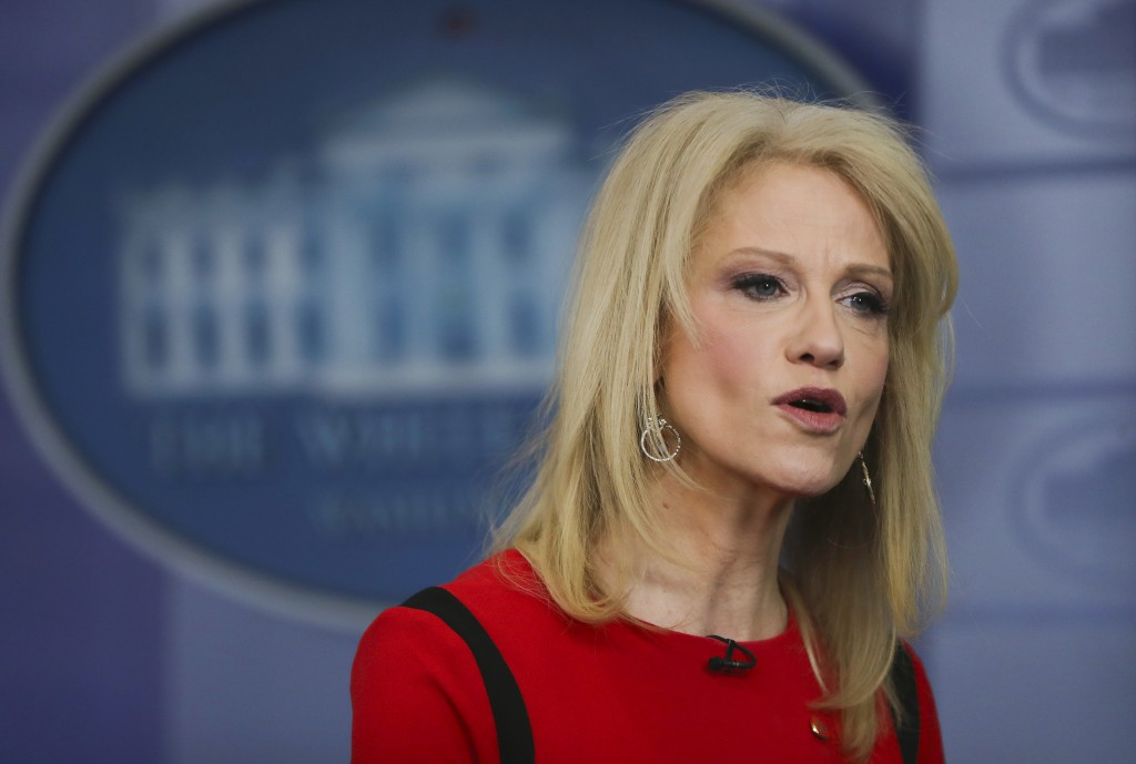 FILE - In this March 23, 2018 file photo, Counselor to the President Kellyanne Conway speaks during a media interview in the White House Press Brady P