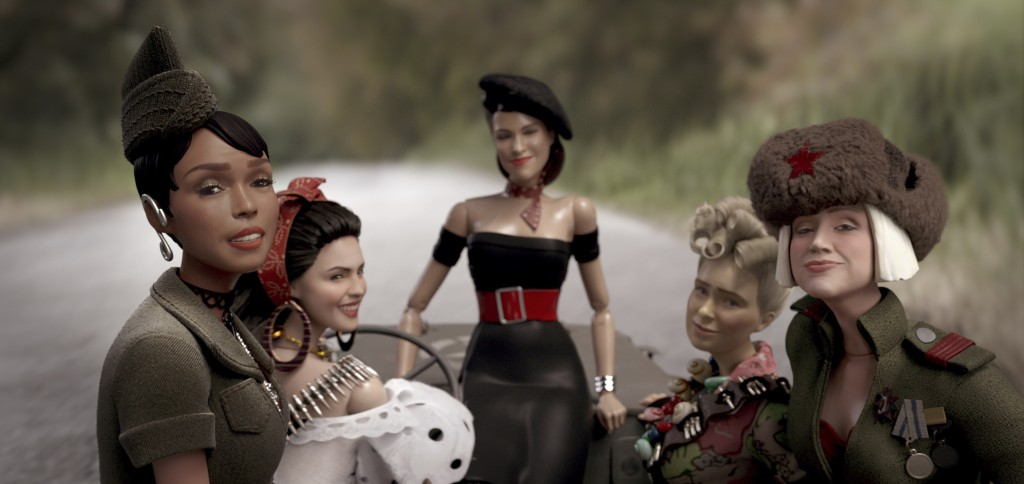 This image released by Universal Pictures shows the dolls of Marwen, from left, GI Julie, voiced by Janelle Monáe, Carlala, voiced by Eiza Gonzalez, S