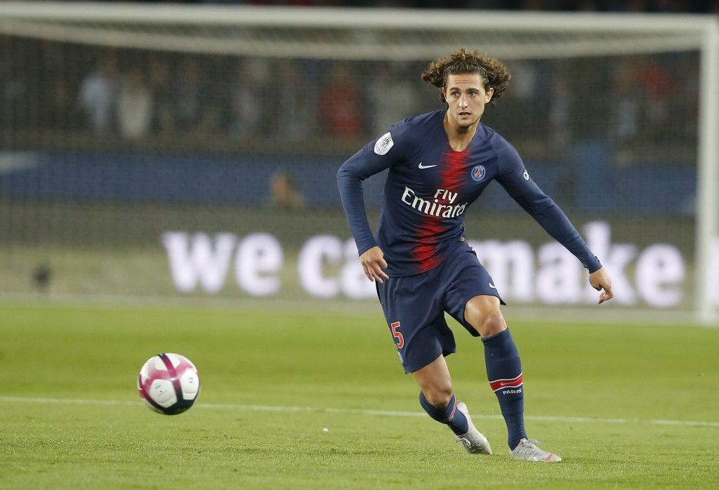 In this Sept. 26, 2018, photo, PSG's Adrien Rabiot controls the ball during the French League One soccer match between Paris-Saint-Germain and Reims a...