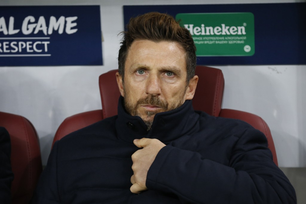 FILE - In this, Wednesday, Nov. 7, 2018 file photo, Roma coach Eusebio Di Francesco sits on the bench during a Group G Champions League soccer match b...