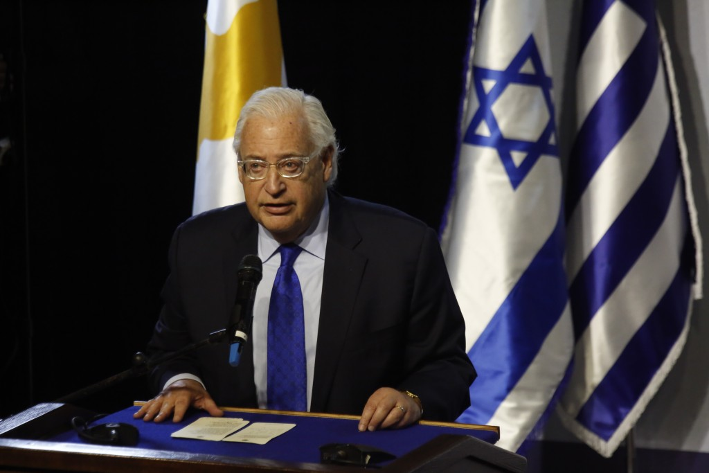 US Ambassador to Israel David Friedman speaks during the 5th trilateral summit between Israel, Greece and Cyprus in Beersheba, Israel, Thursday, Dec.