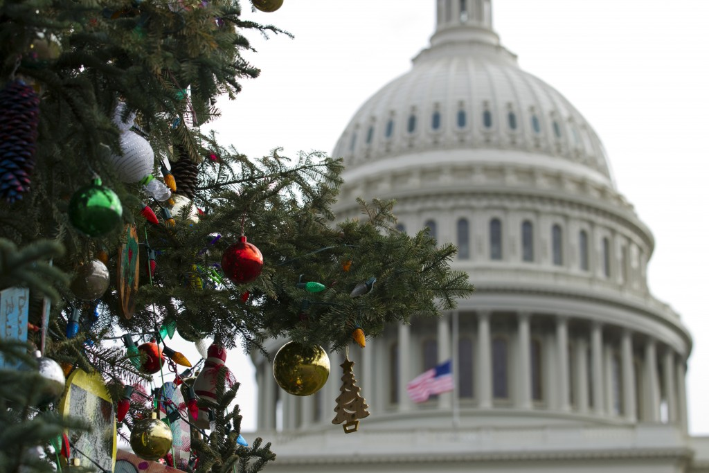 The Capitol Christmas tree decorations are seen outside of The U.S. Capitol in Washington, Friday, Dec. 21, 2018. Republican-led House approved fundin...