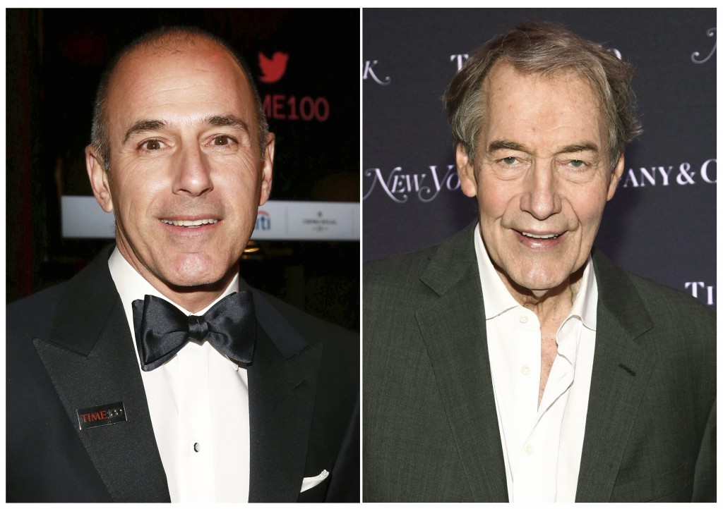 """This combination photo shows Matt Lauer, former co-host of the """"Today"""" show, left, and Charlie Rose, former co-host of """"CBS This Morning."""" A year afte..."""