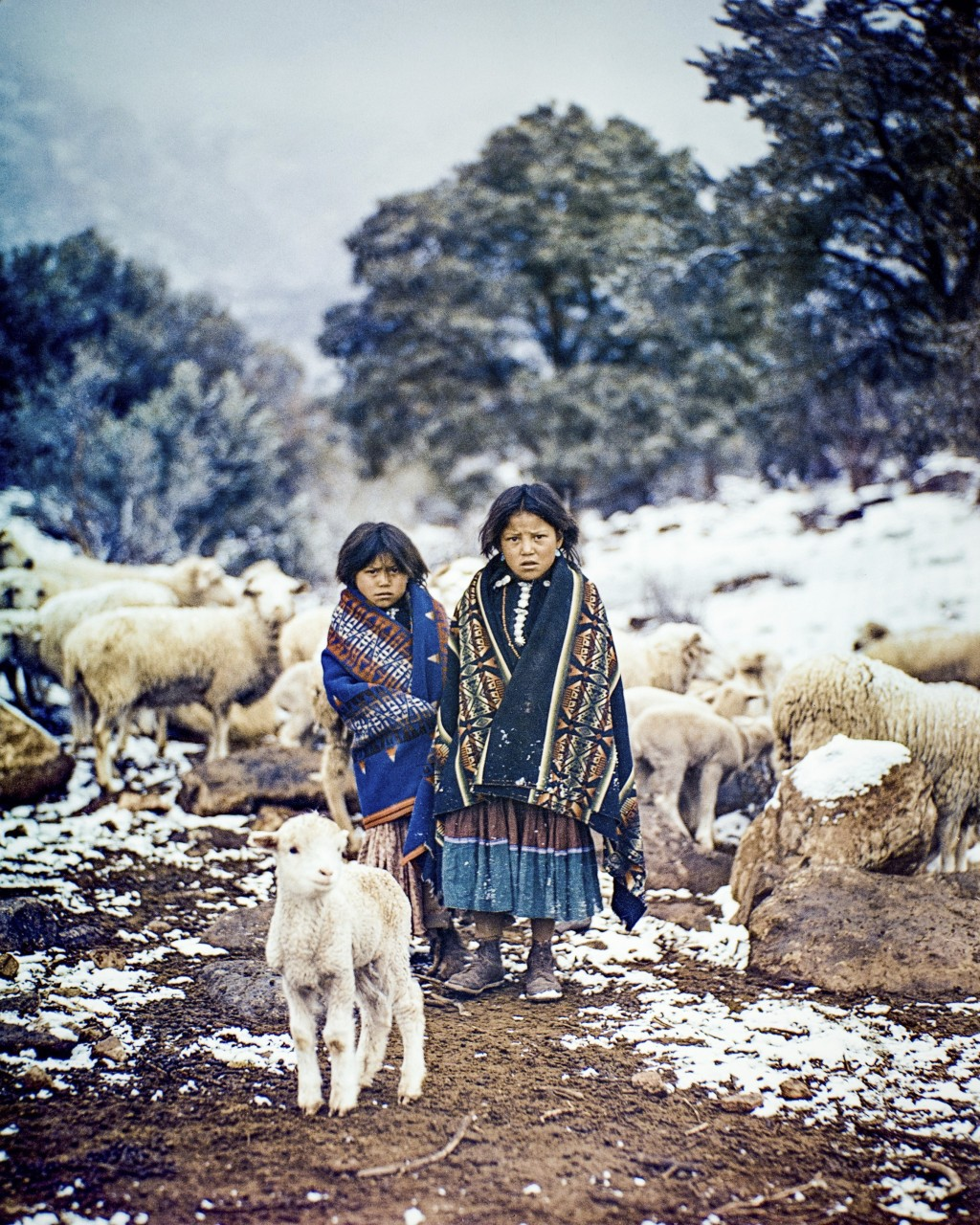 This photo provided by Barry & Peggy Goldwater Foundation,  two young Navajo girls, Lillie and Ethel One Salt, tend their sheep in the snow in this ph...
