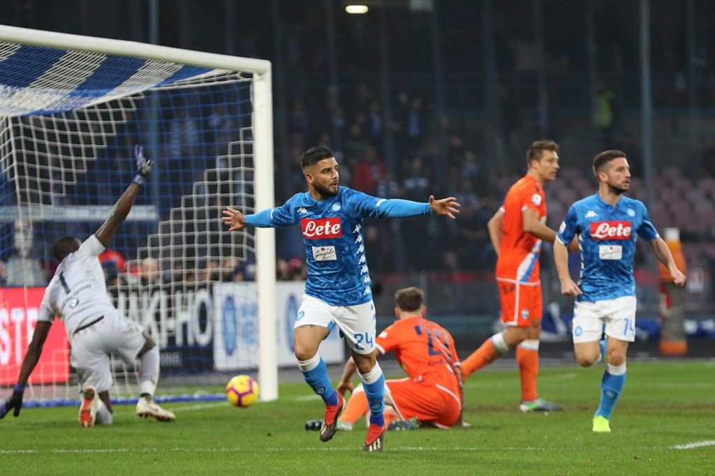 Napoli's Lorenzo Insigne, center, celebrates after scoring during the Italian Serie A soccer match between Napoli and SPAL at the San Paolo stadium in...