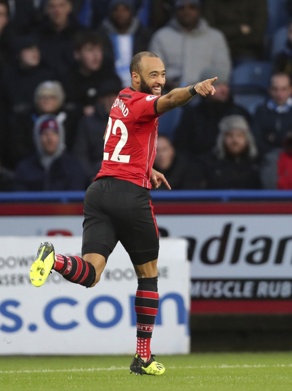 Southampton's Nathan Redmond celebrates scoring his side's first goal of the game during the English Premier League soccer match between Huddersfield ...
