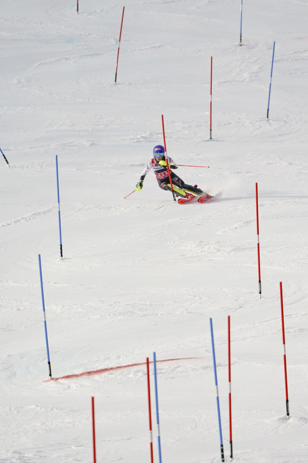 United States' Mikaela Shiffrin speeds down the course during a ski World Cup women's Slalom race, in Courchevel, France, Saturday, Dec. 22, 2018. (AP...