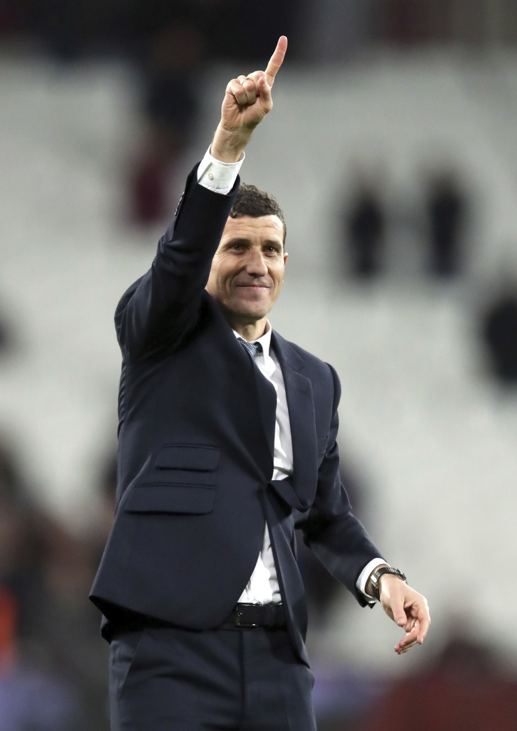 Watford manager Javi Gracia acknowledges the fans after the Premier League match at London Stadium Saturday, December 22, 2018.  (Chris Radburn/PA via