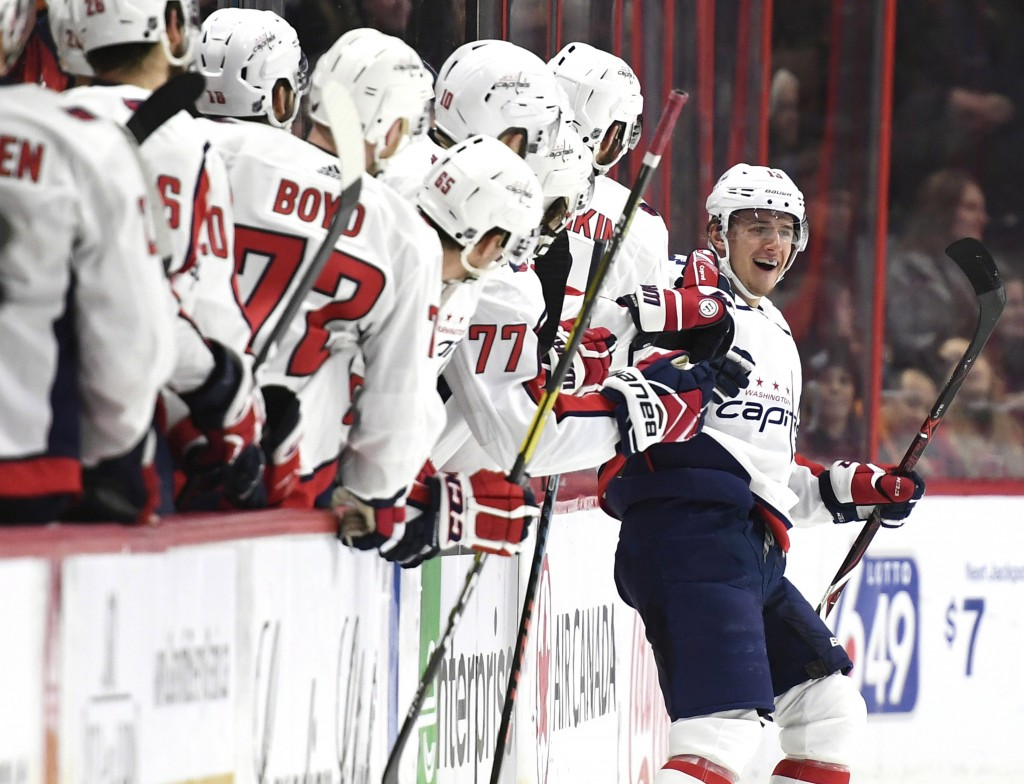 Washington Capitals left wing Jakub Vrana (13) celebrates his goal against the Ottawa Senators during the second period of an NHL hockey game, Saturda...