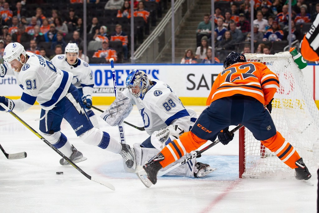 Tampa Bay Lightning goaltender Andrei Vasilevskiy (88) stops Edmonton Oilers right wing Tobias Rieder (22) during the second period of an NHL hockey g...