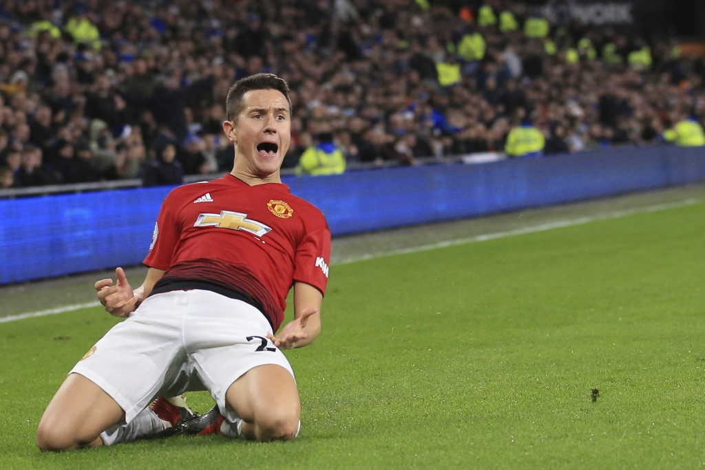 Manchester United Manchester United midfielder Ander Herrera celebrates his goal during the English Premier League match between Cardiff City and Manc