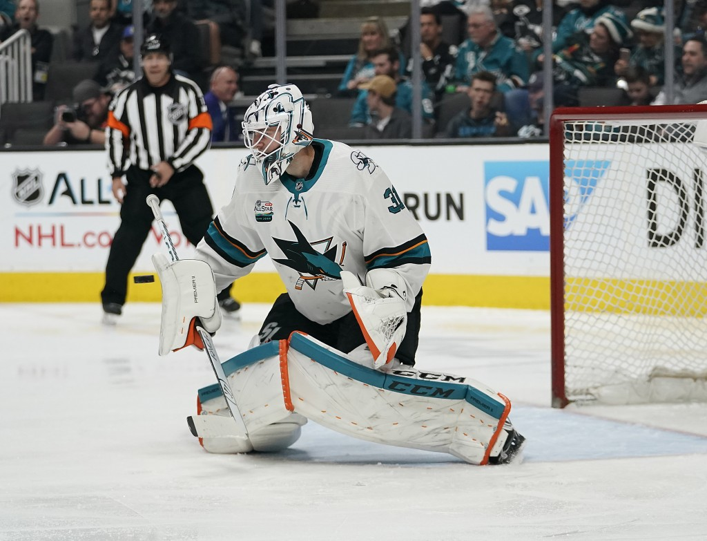 San Jose Sharks goaltender Martin Jones (31) blocks a shot on goal by the Los Angeles Kings during the second period of an NHL hockey game in San Jose
