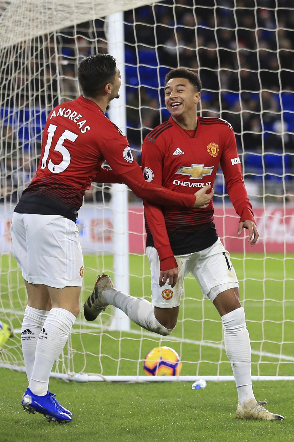 Manchester United midfielder Jesse Lingard, right, and his teammate midfielder Andreas Pereira celebrated together his goal against Cardiff City durin...