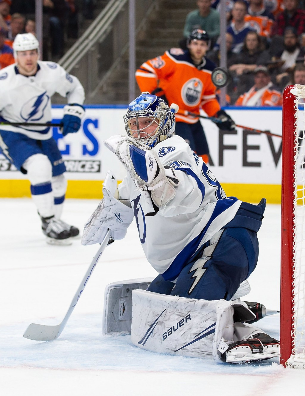 Tampa Bay Lightning goaltender Andrei Vasilevskiy (88) makes a save against the Edmonton Oilers during the second period of an NHL hockey game Saturda...