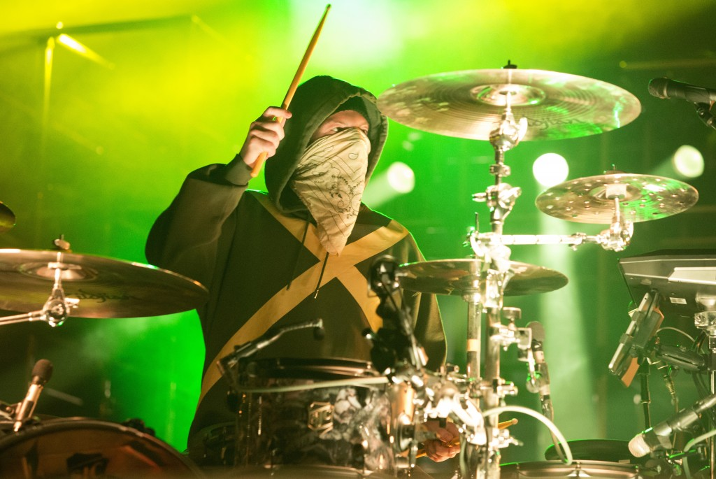 "FILE - In this Oct. 28, 2018, file photo, Josh Dun of the band Twenty One Pilots performs in concert during their ""Bandito Tour"" at The Wells Fargo Ce..."