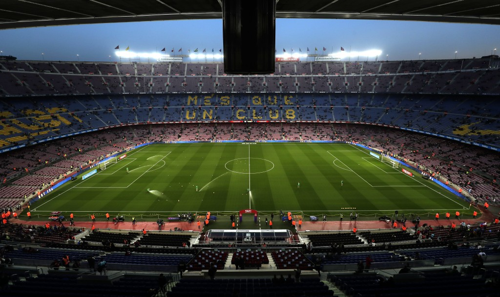 A general view of the Camp Nou stadium prior of the Spanish La Liga soccer match between FC Barcelona and Celta Vigo at the Camp Nou stadium in Barcel...