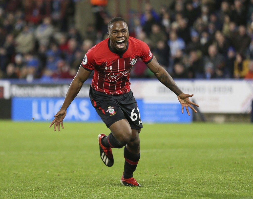 Southampton's Michael Obafemi celebrates scoring his side's third goal of the game during the English Premier League soccer match between Huddersfield