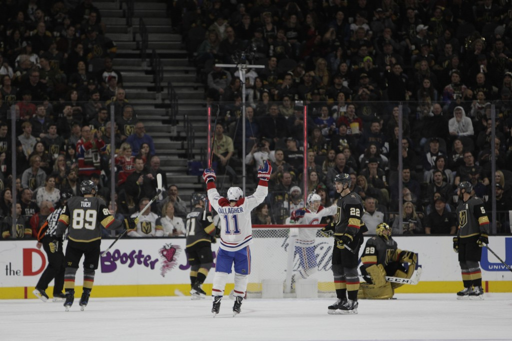 Montreal Canadiens right wing Brendan Gallagher (11) celebrates after the team scored during the second} period of an NHL hockey game against the Vega...