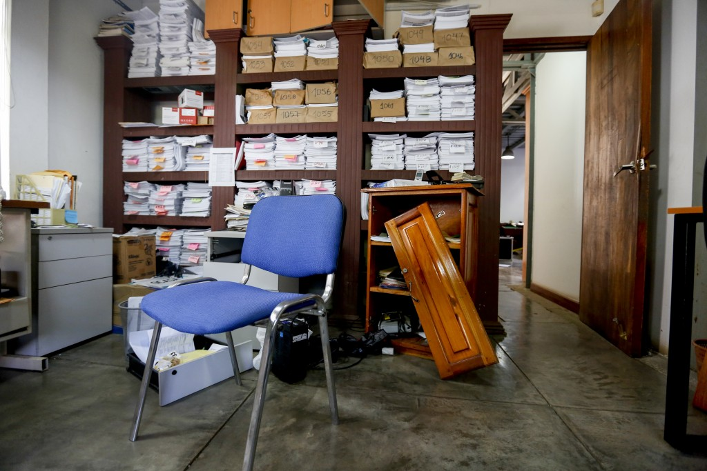 This Dec. 14, 2018 photo shows the ransacked office of the independent media outlet Confidencial, in Managua, Nicaragua. Heavy-handed raids on the cou