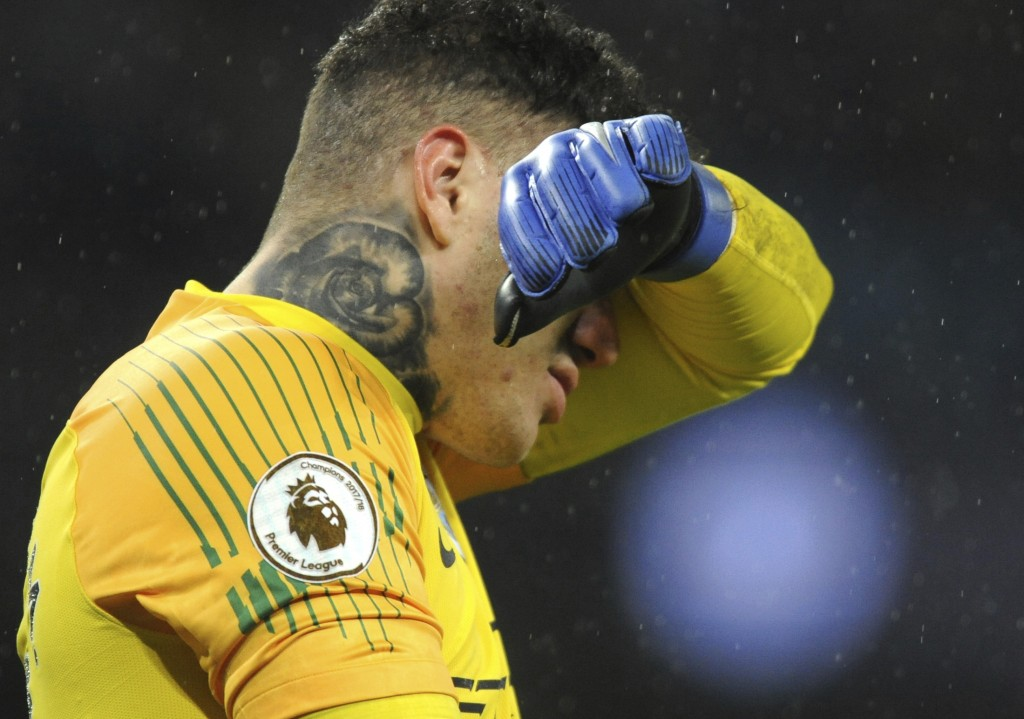 Manchester City's goalkeeper Ederson Moraes reacts during the English Premier League soccer match between Manchester City and Crystal Palace at Etihad