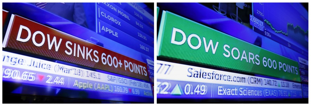 FILE - This combination photo shows a television screen on the floor of the New York Stock Exchange with a headline for the Dow Jones industrial avera