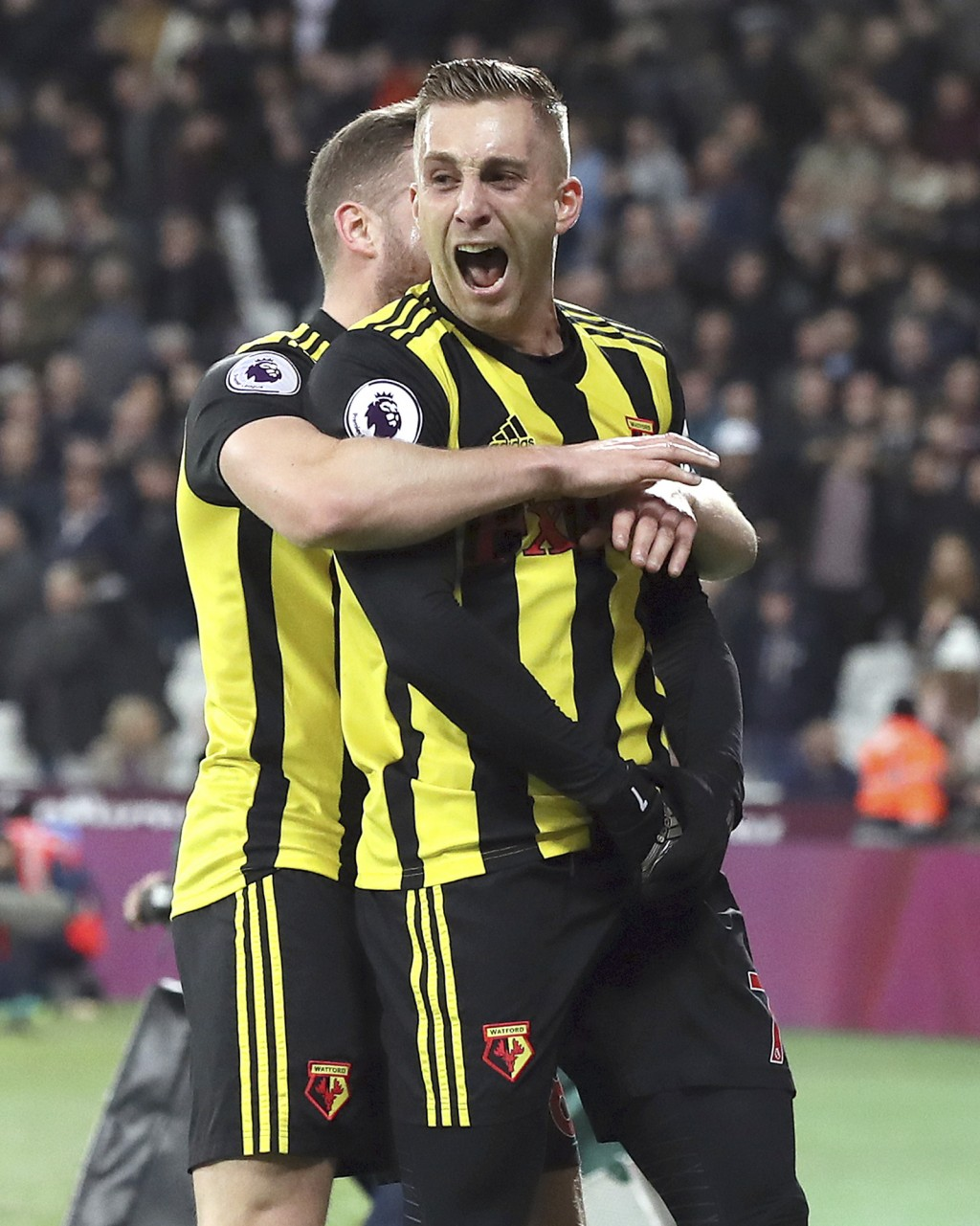Watford's Gerard Deulofeu celebrates scoring his side's second goal of the game during the Premier League match at London Stadium, Saturday, December