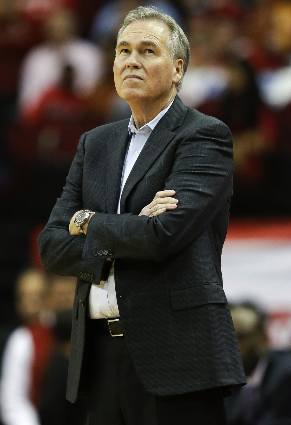 Houston Rockets head coach Mike D'Antoni stands on the sidelines during the first half of an NBA basketball game against the San Antonio Spurs, Saturd...