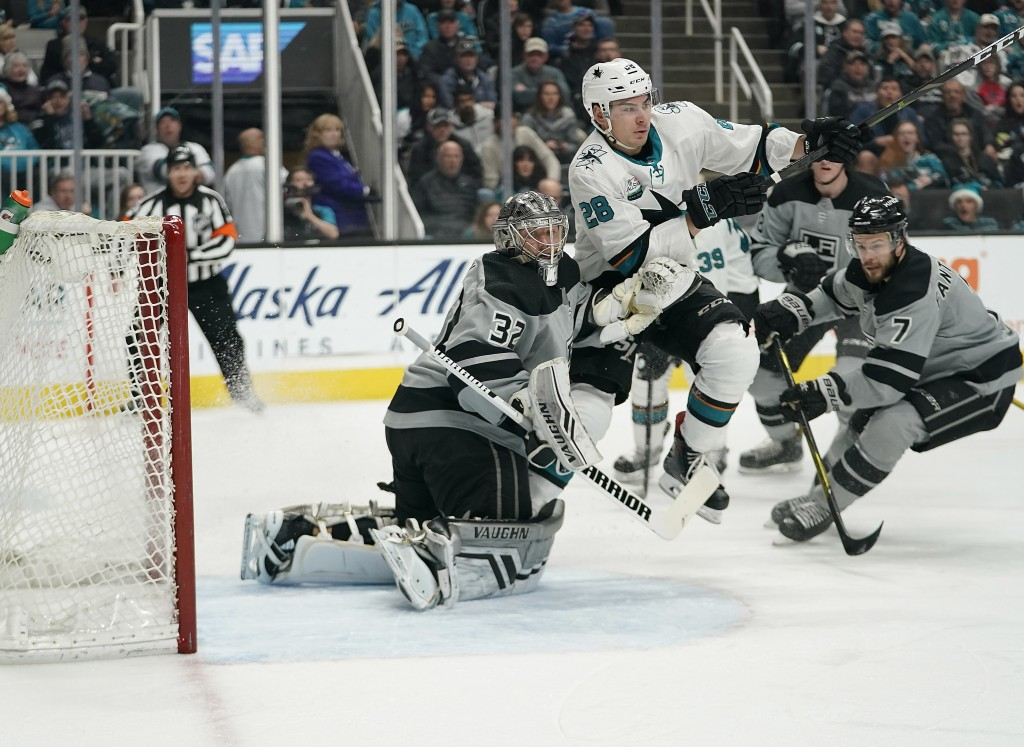 San Jose Sharks right wing Timo Meier (28) collides with Los Angeles Kings goaltender Jonathan Quick (32) during the first period of an NHL hockey gam...