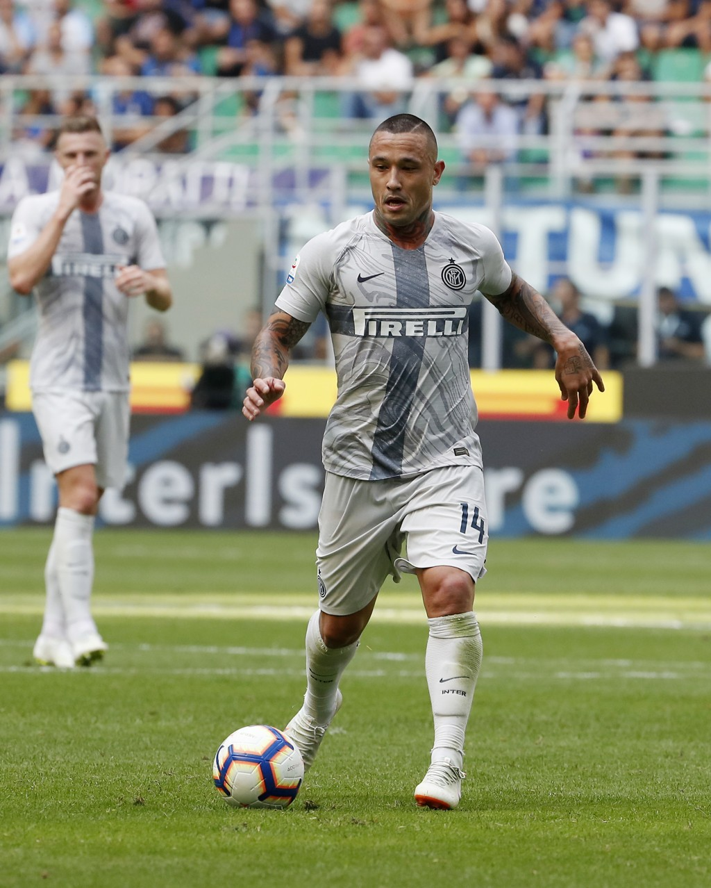 FILE - In this Saturday, Sept. 15, 2018 file photo Inter Milan's Radja Nainggolan controls the ball during the Serie A soccer match between Inter Mila...