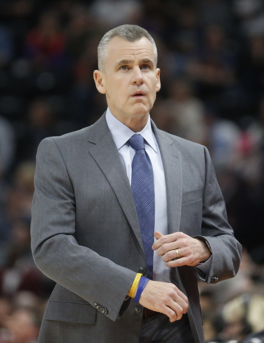 Oklahoma City Thunder head coach Billy Donovan looks at the scoreboard in the first half of an NBA basketball game against the Utah Jazz, Saturday, De...