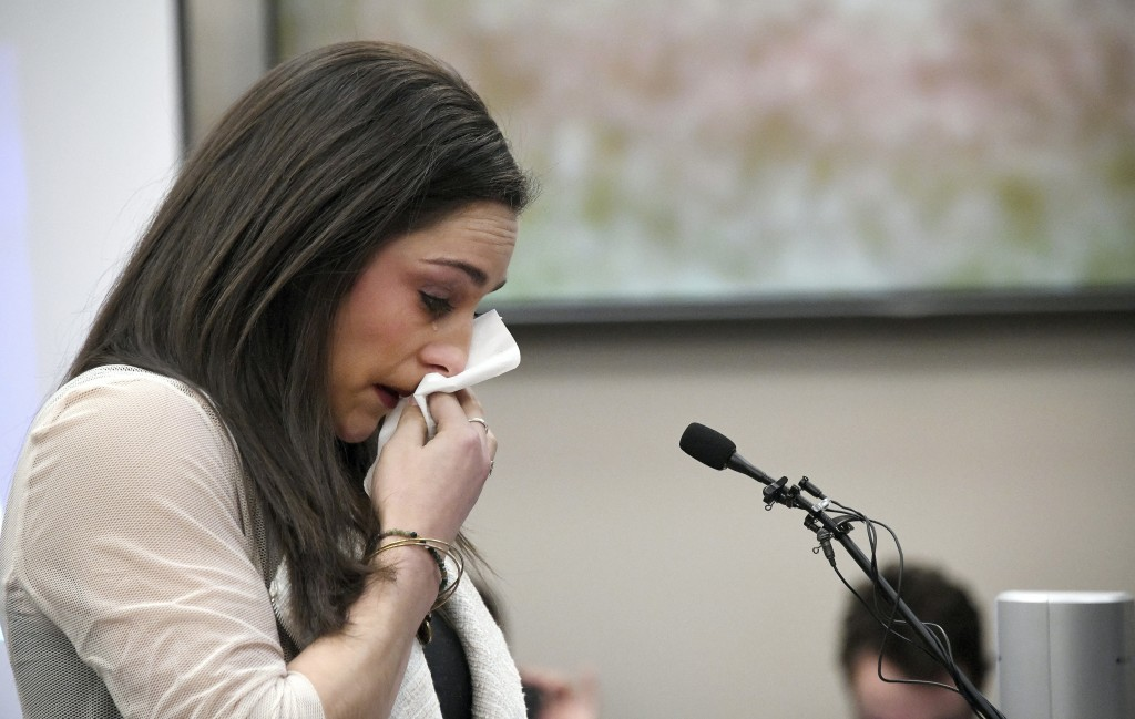 FILE - In this Jan. 19, 2018 file photo, Olympic gold medalist Jordyn Wieber cries as she gives her victim impact statement in Lansing, Mich., during