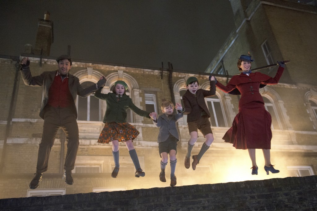 """This image released by Disney shows, from left, Lin-Manuel Miranda, Pixie Davies, Joel Dawson, Nathanael Saleh and Emily Blunt in """"Mary Poppins Return"""