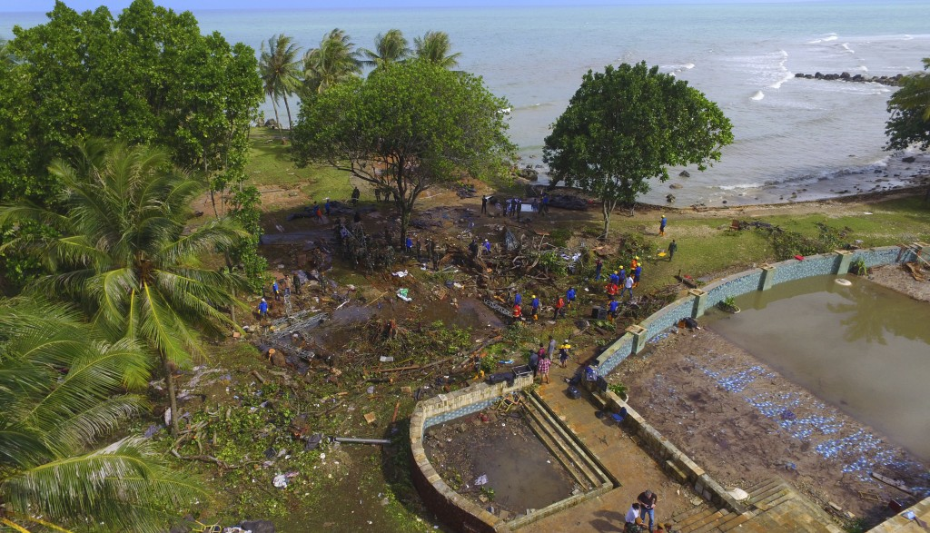 In this Monday, Dec. 24, 2018, photo, a view of a beach resort is seen after a tsunami in Tanjung Lesung, Indonesia. The tsunami that hit the coasts o...